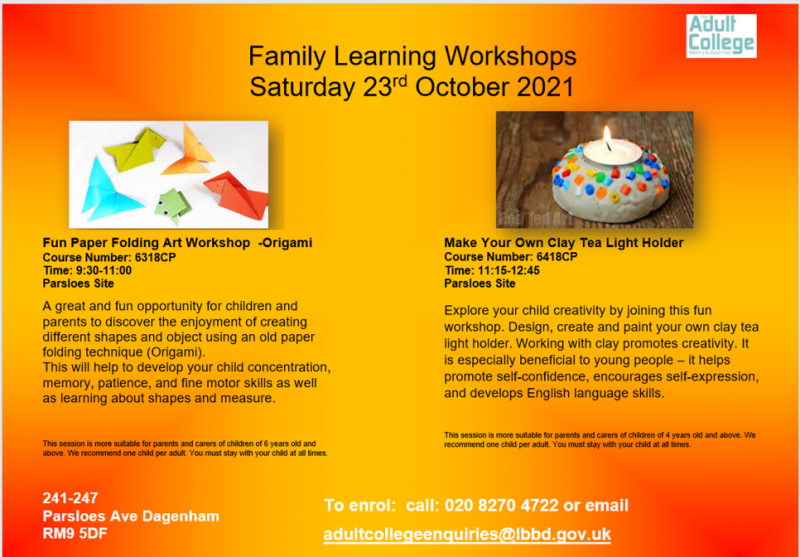 Family Learning Workshops Saturday 23rd October 2021
